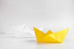 Choice concept paper boats on white background Royalty Free Stock Photography
