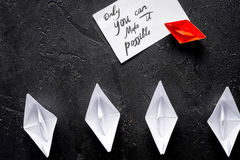 Choice concept paper boats on white background top view Royalty Free Stock Photography
