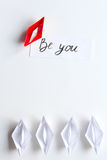 Choice concept paper boats on white background top view Stock Photo