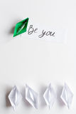 Choice concept paper boats on white background top view Stock Photos