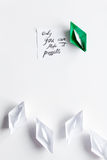 Choice concept paper boats on white background top view Stock Images