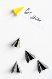 Choice concept paper boats on white background top view Stock Image