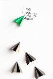 Choice concept paper boats on white background top view Royalty Free Stock Images