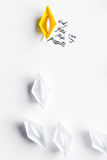 Choice concept paper boats on white background top view Royalty Free Stock Photos
