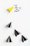 Choice concept paper boats on white background top view Royalty Free Stock Photo