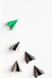 Choice concept paper boats on white background top view Stock Photography