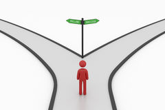 Choice crossroad sign with man Royalty Free Stock Images