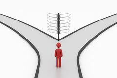 Choice crossroad sign with man Stock Images
