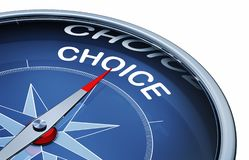 Choice. 3D rendering of an compass with the word choice vector illustration
