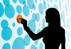 Choice and Decision. An illustration of a woman making a choice or decision by pointing on a circle background Royalty Free Stock Photos