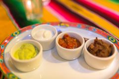 Choice of dips. To the mexican food stock images
