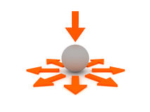 Choice of direction - ball and arrows Royalty Free Stock Photography