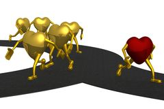 Choice of a direction of movement to success. 3D image Royalty Free Stock Photo