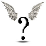 Choice Freedom. Question Face with wings above Stock Photography