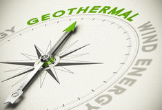 Choice - Geothermal Concept. Compass with needle pointing the text GEOTHERMAL - Green and renewable energies concept blur effect with focus on the main word Royalty Free Stock Images