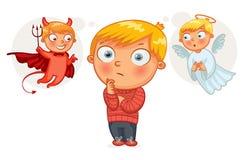 Choice between good and evil. Hand-drawn. Funny cartoon character. Vector illustration royalty free illustration