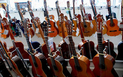 Choice of guitars. In the shop Stock Image
