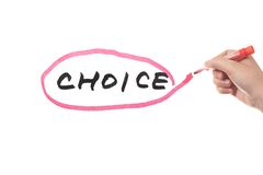 Choice. Hand drawing a circle around a choice word Royalty Free Stock Photography