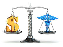 Choice health or money. Caduceus and dollar signs on scales. 3d Stock Images