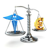 Choice health or money. Caduceus and euro signs on scales. Royalty Free Stock Photo
