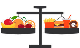 The choice between healthy and tasty. Scales with fatty food and fruit Royalty Free Stock Photos