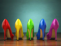Choice of high heels shoes in different colors. Shopping concept Royalty Free Stock Photography