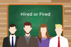 Choice between hired or fired white text illustration with four people in front of green chalk board and white text. Vector Stock Images