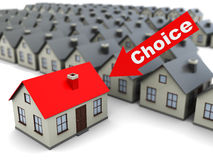 Choice house. Abstract 3d illustration of searching for home concept, house selection Royalty Free Stock Image
