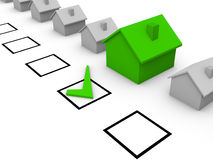 Choice of house. Check list with 3d houses Stock Photography