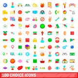 100 choice icons set, cartoon style. 100 choice icons set in cartoon style for any design vector illustration Stock Photos