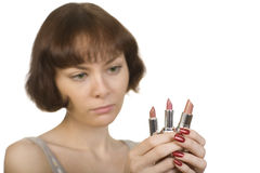Choice of lipstick Stock Photography