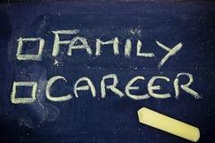 Choice between love or career. Chalk writings on blackboard, choice between love or career Royalty Free Stock Photo