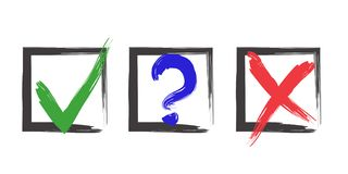 Choice Marks. Blue question, red X and green tick check marks, approval signs design. Red X and green OK symbol icons in square check boxes. Check list marks stock illustration