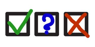 Choice Marks. Blue question, red X and green tick check marks, approval signs design. Red X and green OK symbol icons in square check boxes. Check list marks royalty free illustration