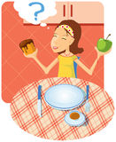 Choice of meal. The girl before a choice of meal. CMYK royalty free illustration