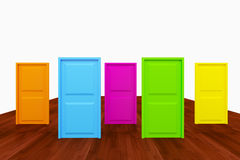 Choice with multi color door Royalty Free Stock Image