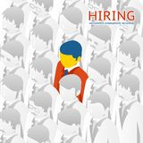 Choice person for hiring. Choice of the person from the crowd for hiring. Vector illustration. Recruitment, selection Royalty Free Stock Photo