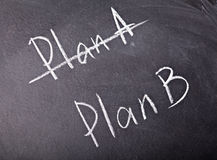 Choice plan. Crossing out Plan A and writing Plan B concept for change of plan Royalty Free Stock Photo