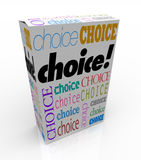 Choice - Product Box Alternative to Choose. A product box with with the word Choice calling attention to it, symbolizing the freedom to choose your preference Royalty Free Stock Image