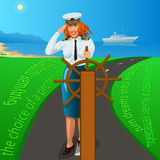 The choice of a profession. The choice of profession of every person is the desire for a future life of happiness. The captain of the girl holds the steering Royalty Free Stock Photography