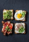 Choice of sandwiches for breakfast, snack, appetizers - avocado puree, fried egg, tomatoes, bacon, cream cheese, smoked mackerel g royalty free stock image