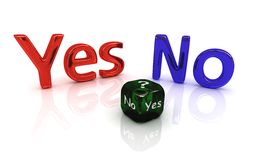 Choice series: Yes or No. Choice series: Yes and No with dice stock illustration