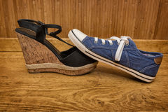 Choice of shoes - sneakers or sandals Royalty Free Stock Image