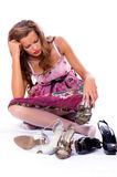 The choice of shoes is very difficultly. Stock Image