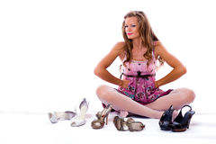 The choice of shoes is very difficultly. Royalty Free Stock Photo