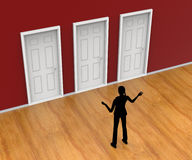 Choice Silhouette Indicates Door Frame And Alternative Royalty Free Stock Photography