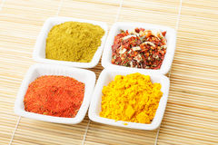 Choice of spices on mat Royalty Free Stock Photos