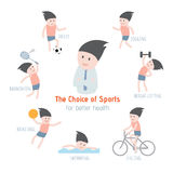 The Choice of Sports for better health. Royalty Free Stock Photos