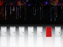 Choice. Surreal digital art. Seven white door with one red door Stock Images