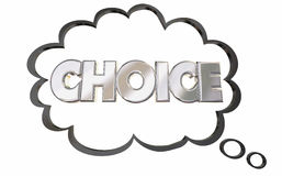 Choice Thought Cloud Choose Word Pick Select. 3d Illustration stock illustration
